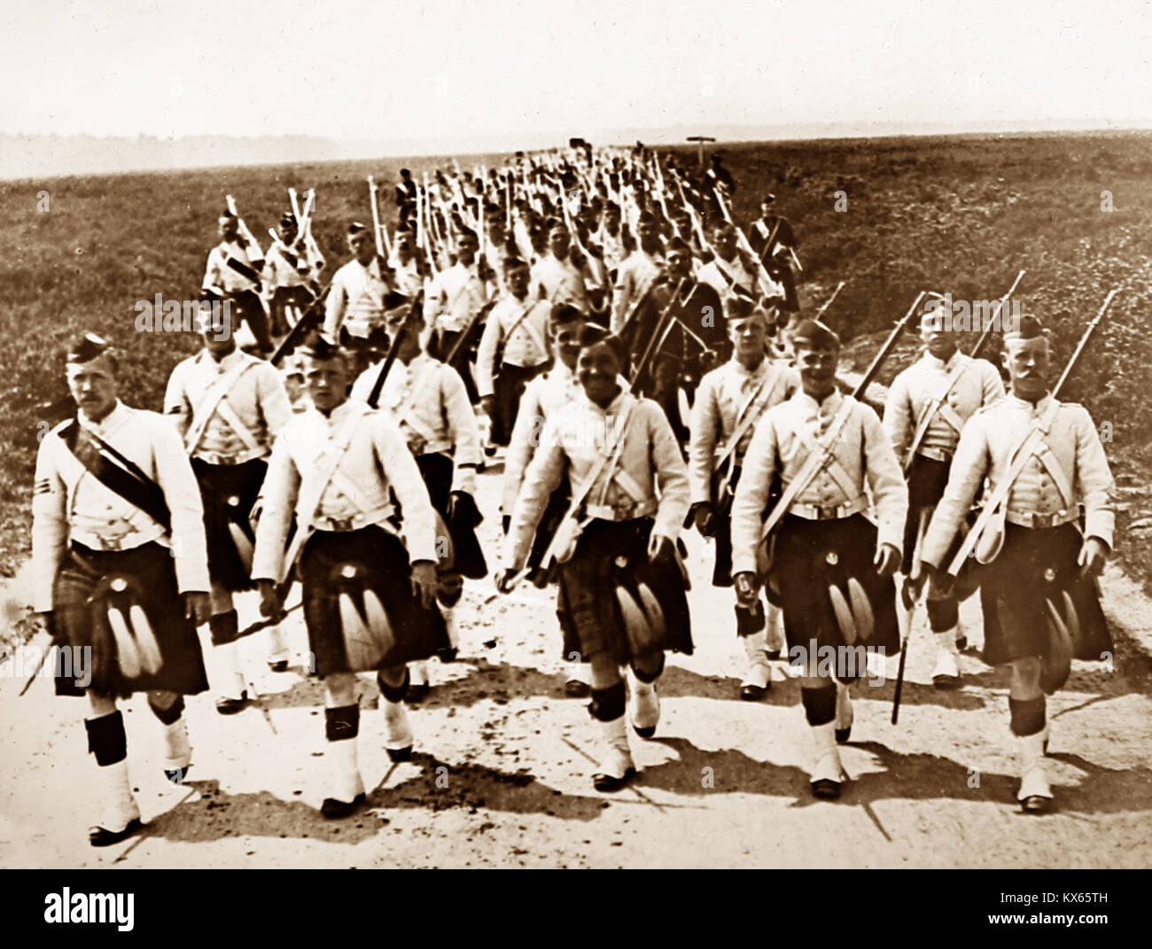 Queens Own Cameron Highlanders, probably WW1 - Stock Image