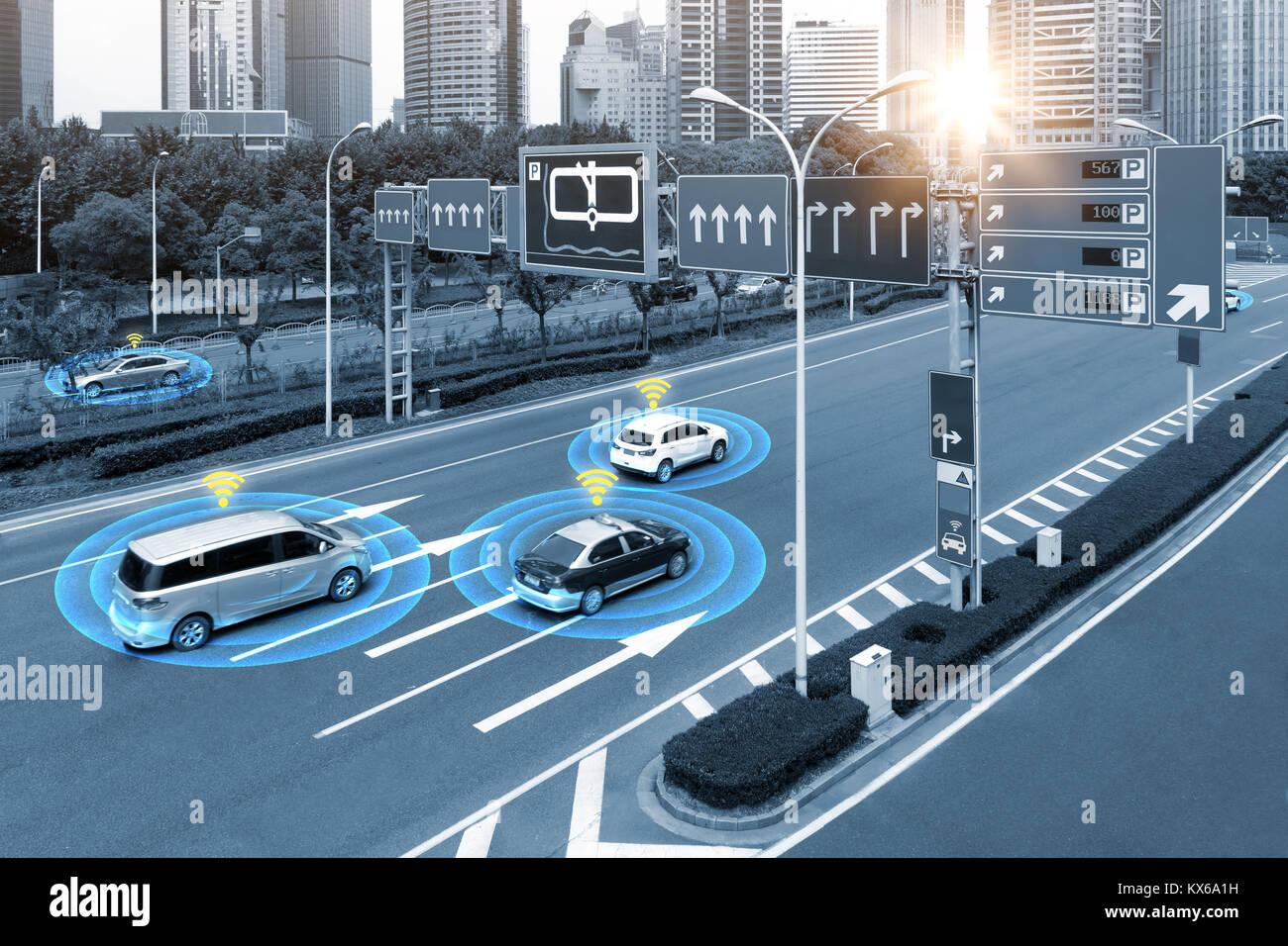 Smart car (HUD) , iot , Autonomous self-driving mode vehicle on metro city road iot concept with graphic sensor - Stock Image