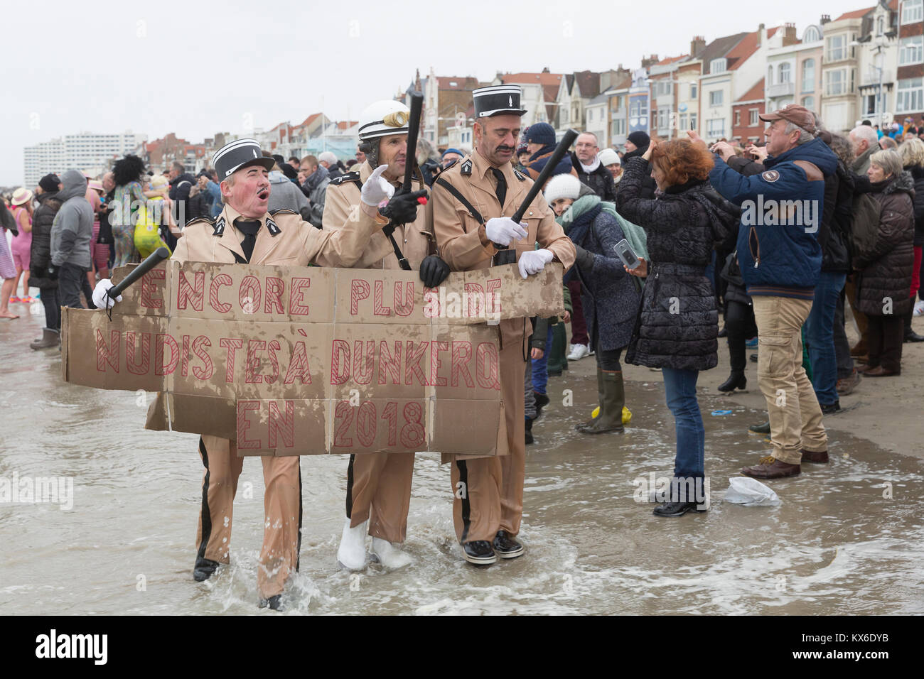 People taking part in the traditional 'Bain de Givres' as part of the New Year's celebrations on January - Stock Image