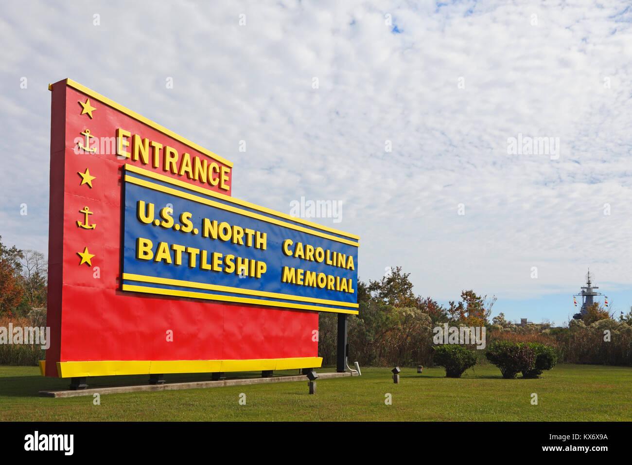 U.S.S North Carolina Battle Ship Memorial entrance sign, Wilmington, North Carolina - Stock Image