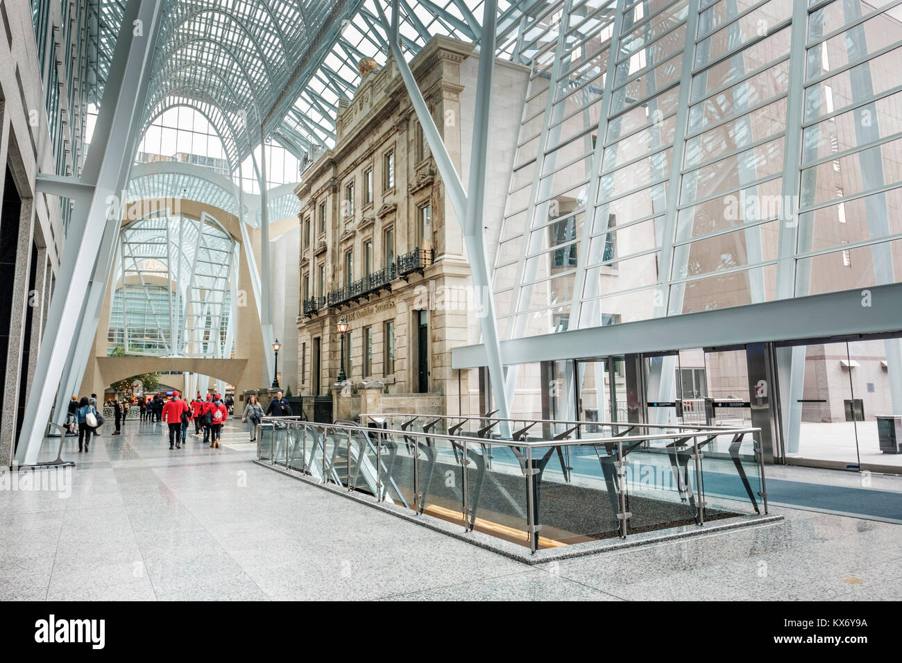 Inside Brookfield Place (formerly BCE Place) Santiago Calatrava's Allen Lambert Galleria in downtown Toronto, - Stock Image