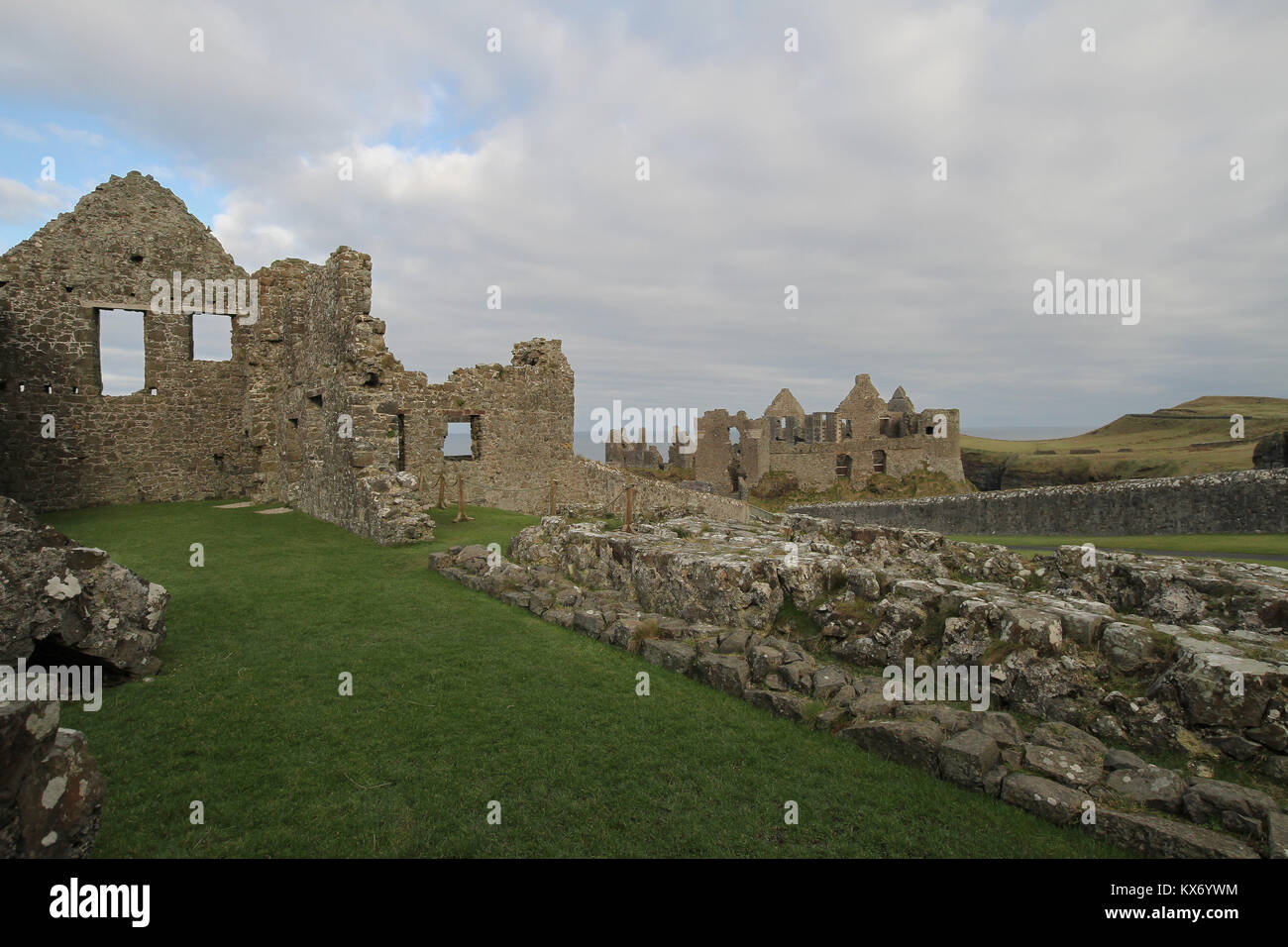 Medieval ruins of Dunluce Castle on the north coast of Northern Ireland. The castle was the location for House of - Stock Image