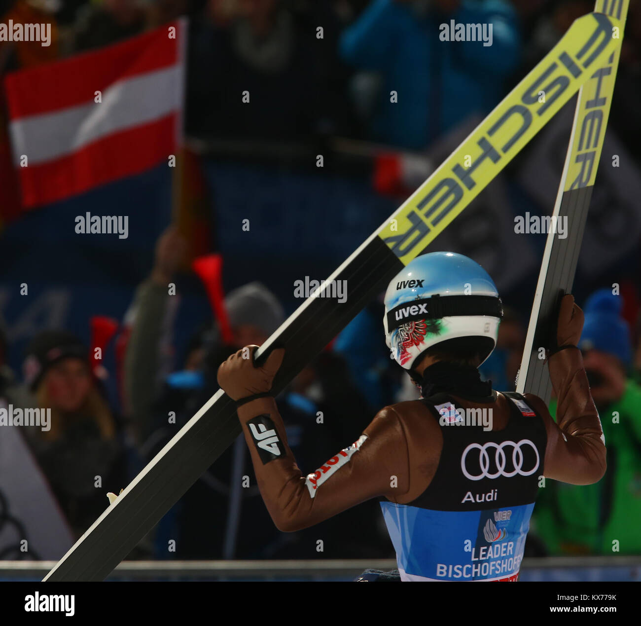 Bischofshofen, Austria. 06th, Jan 2018. Poland's Kamil Stoch, celebrates his victory front of supporters at - Stock Image