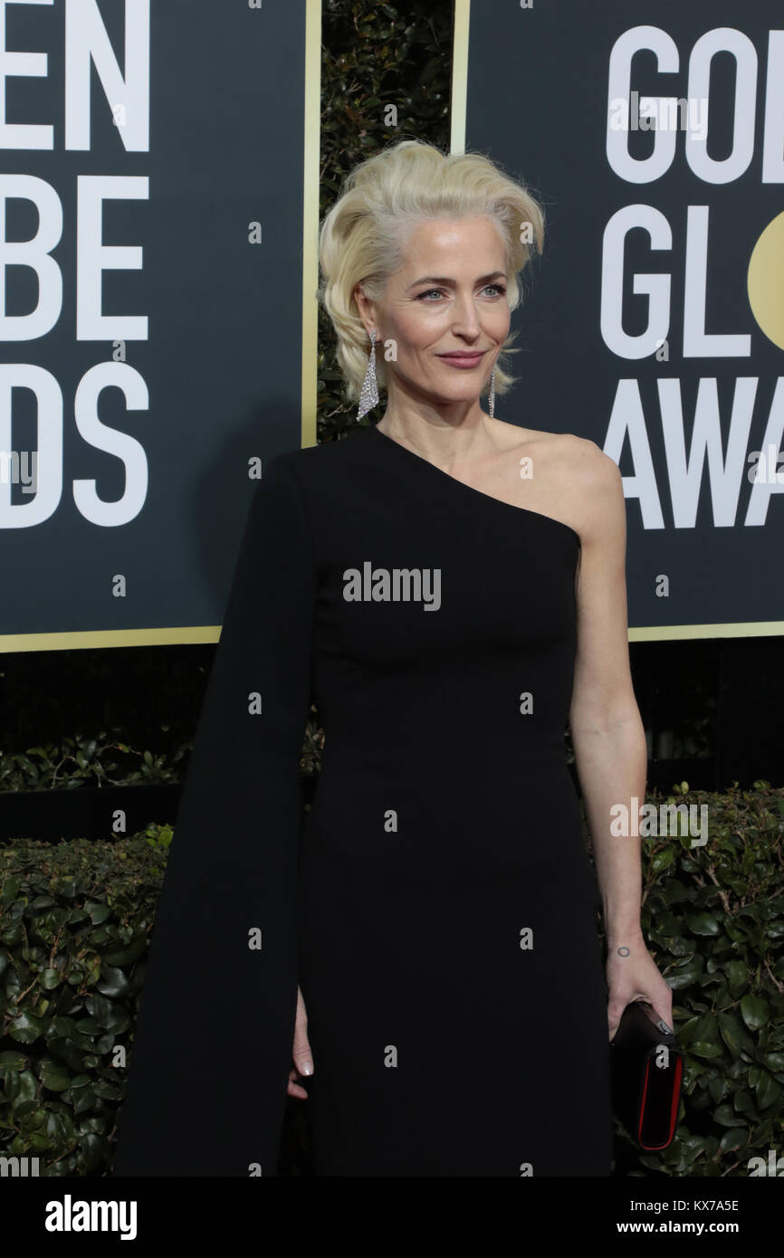Beverly Hills, California, USA. 7th Jan, 2018. Gillian Anderson arrives for the 75th Annual Golden Globe Awards Stock Photo