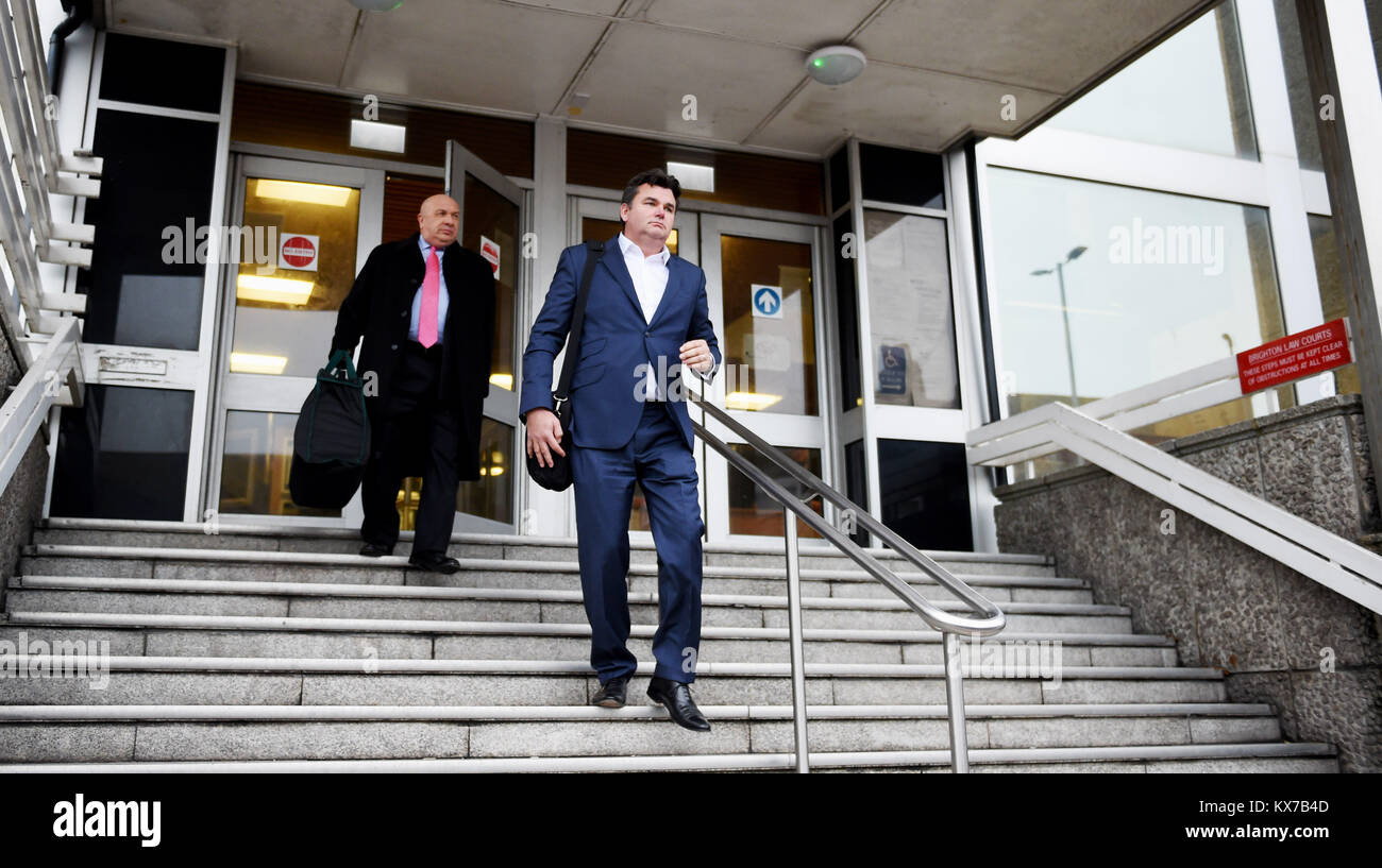 Brighton, UK. 8th Jan, 2018. Dominic Chappell the former owner of BHS leaves Brighton Magistrates Court at lunchtime - Stock Image