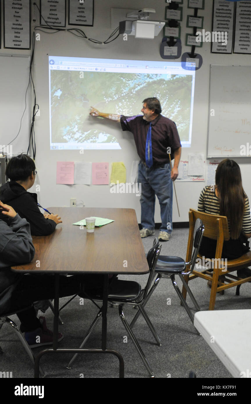 Galena, AK   Paul Apfelbeck, English And Journalism Teacher At The Galena  Interior Learning Academy, Shows Students An Aerial Image Of The Spring  Flooding ...