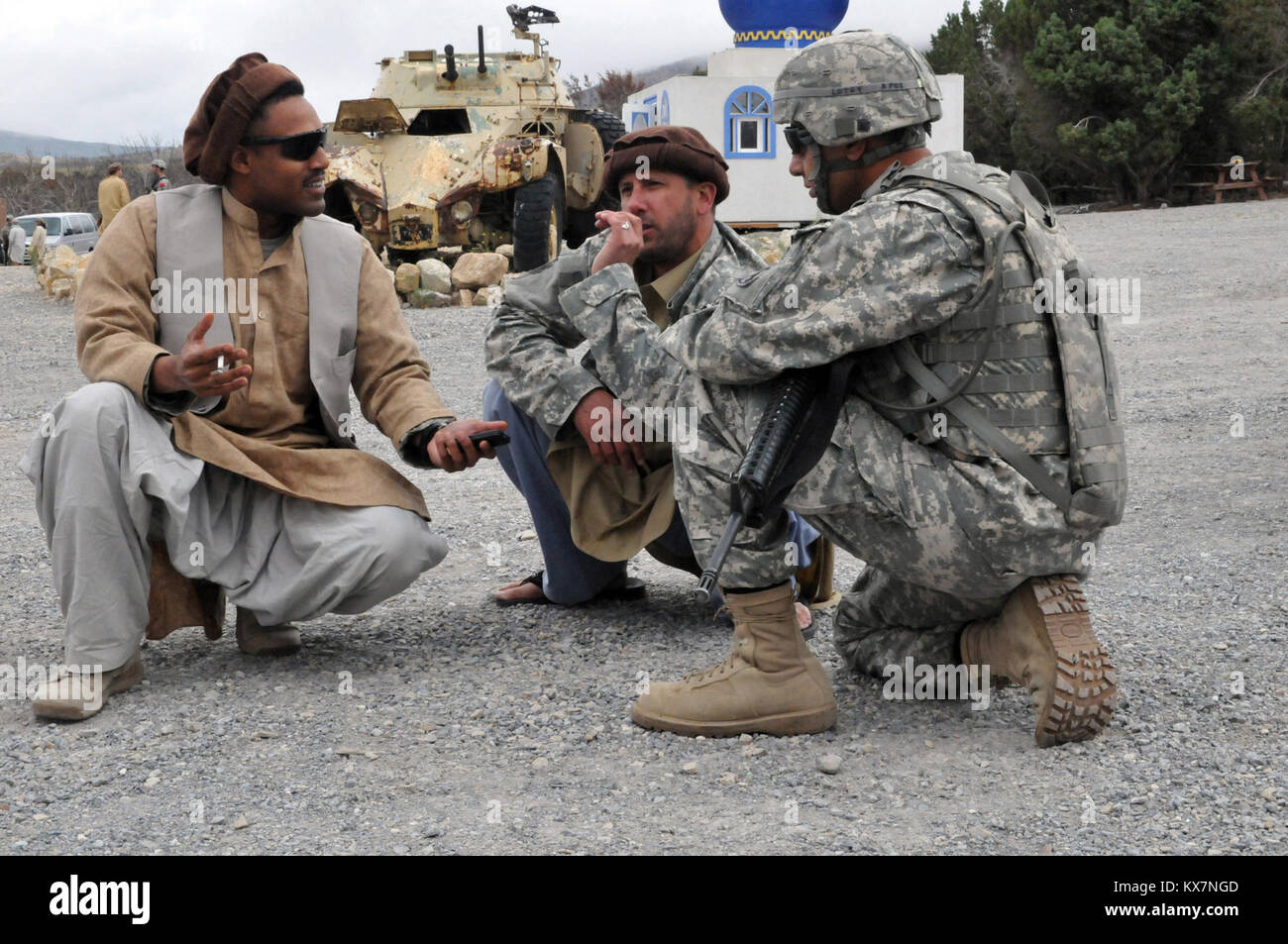 Spc. Walid Lotfy, an intelligence collector with the 250th Military Intelligence Battalion, California Army National - Stock Image