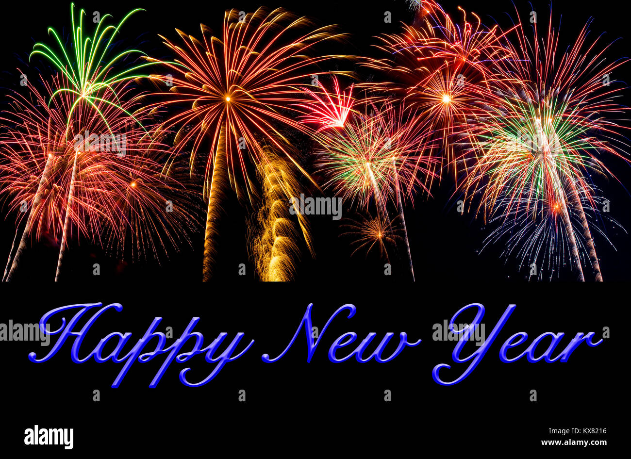 Happy New Year on a beautiful background of fireworks - Stock Image