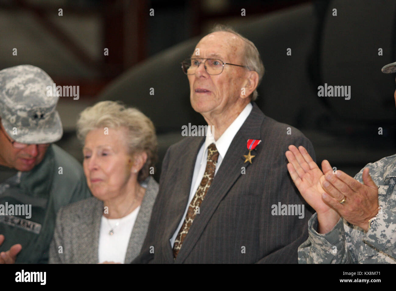 Richard Johnson, a World War II veteran who served in the European Theater of Operations as an infantry machine - Stock Image