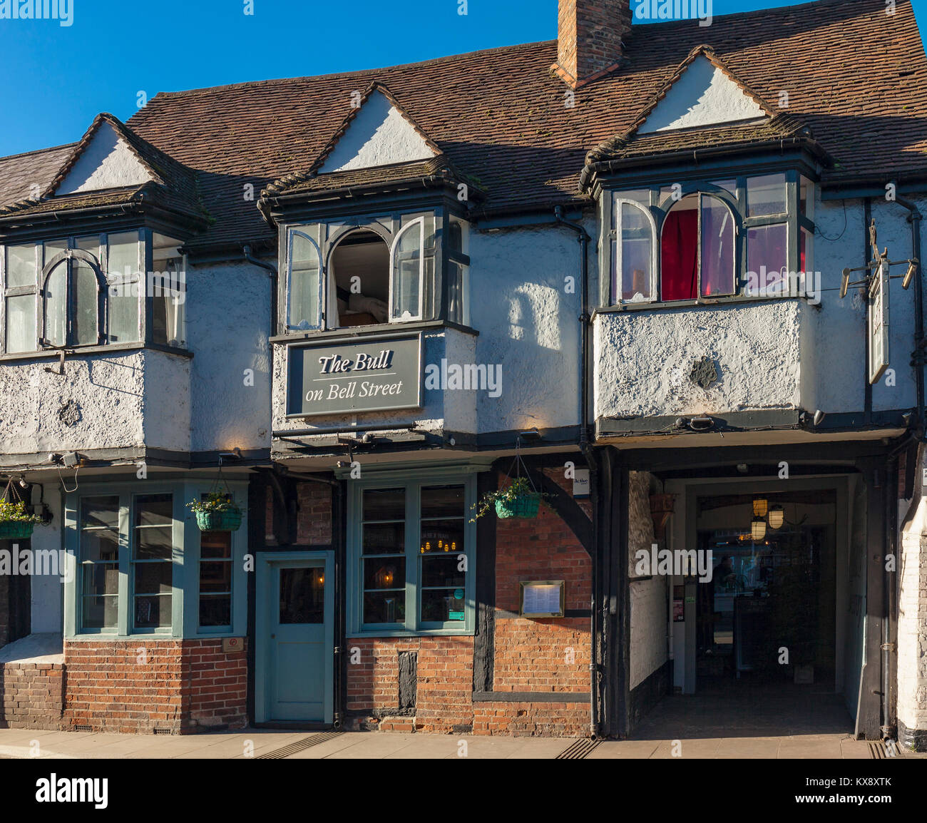 The Bull Public House Henley on Thames with it's two fire insurance plaques. - Stock Image