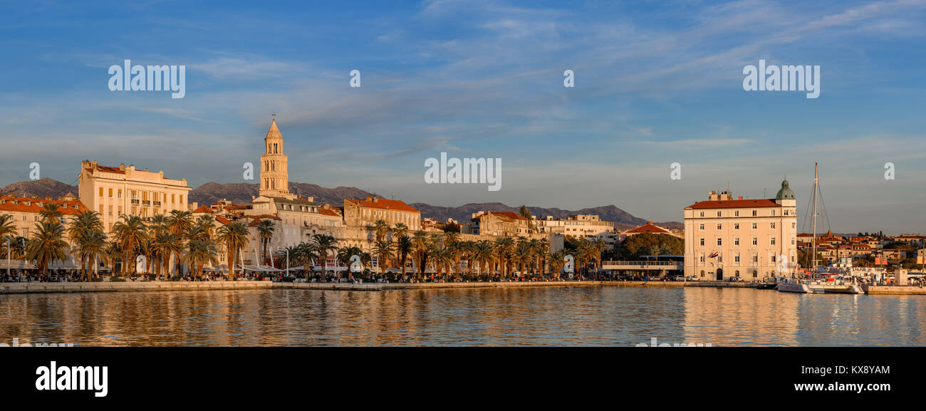 Split City Skyline at Sunset, Croatia - Stock Image
