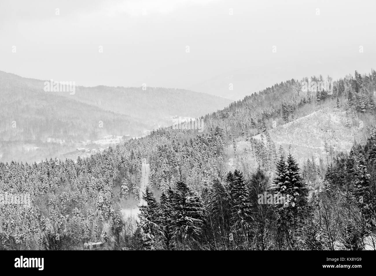 Landscape view on a Beskid mountains in Szczyrk covered in white snow Stock Photo