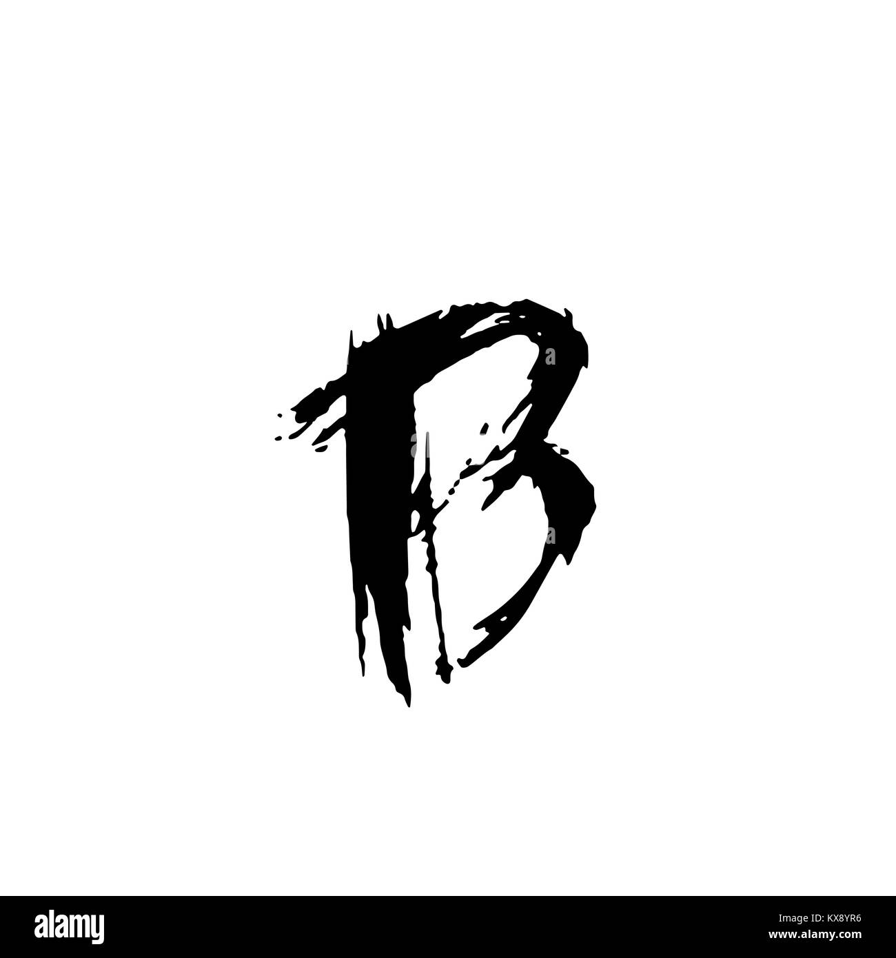 Letter B Handwritten By Dry Brush Rough Strokes Font Vector Illustration Grunge Style Modern Alphabet