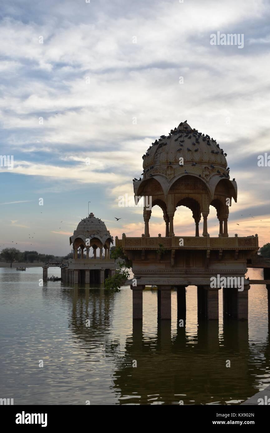 historical monument in gadisar lake jaisalmer rajasthan india Stock Photo