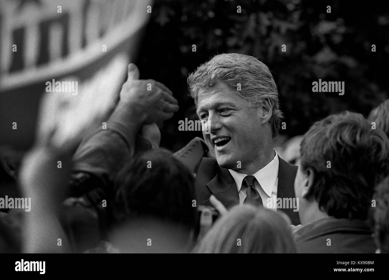 Bill Clinton as Governor of Arkansas and US Presidential Candidate during the Presidential Election Campaign October Stock Photo