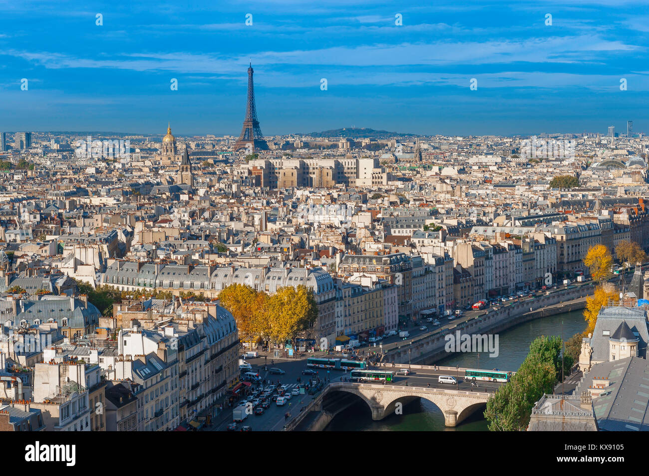 Paris cityscape aerial, view to the west of Paris above the rooftops of the Left Bank towards the Eiffel Tower on - Stock Image
