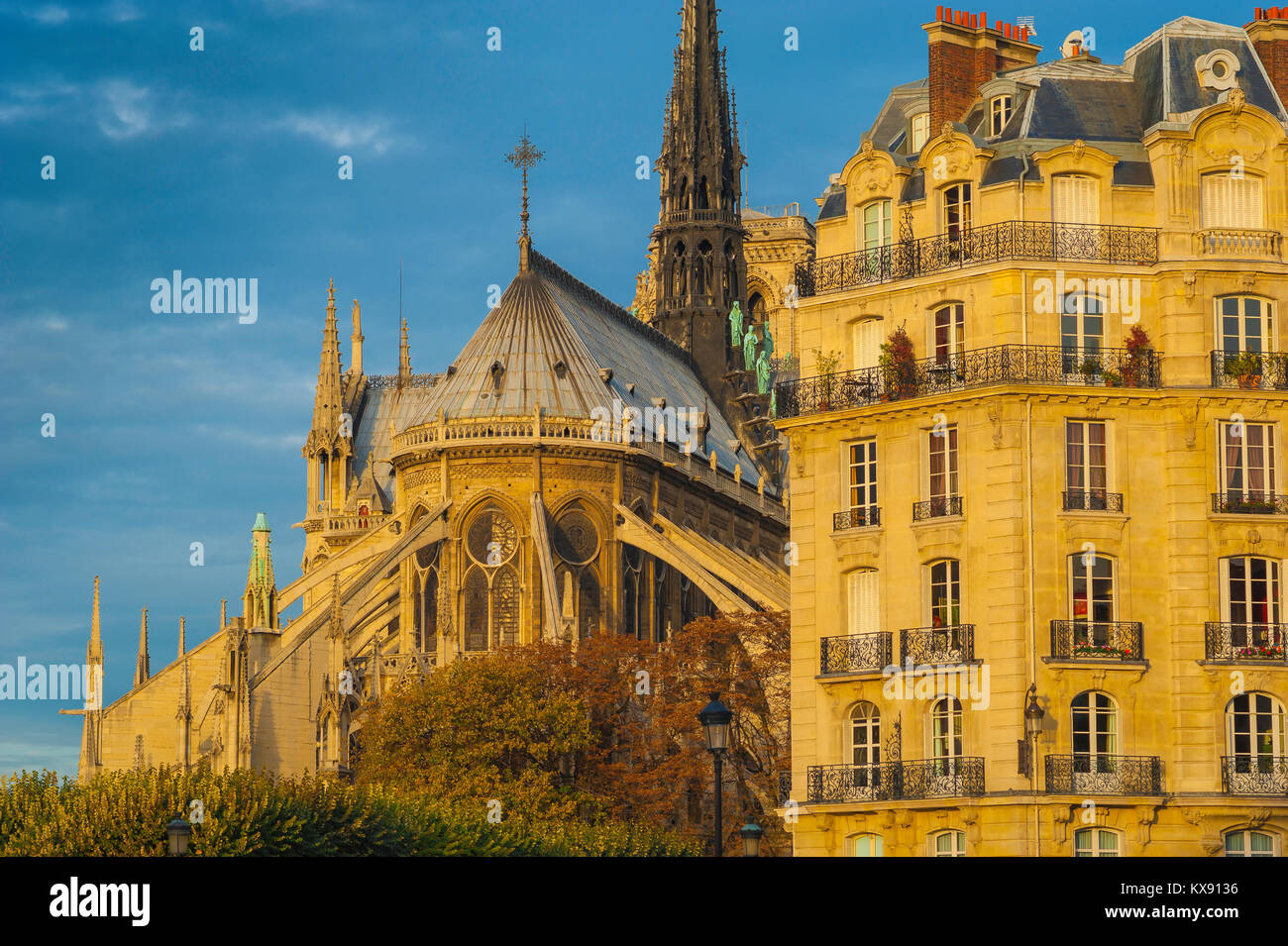 Notre Dame Paris, view at sunset of the spire and roof of Notre Dame Cathedral sited alongside a Haussmann building, - Stock Image
