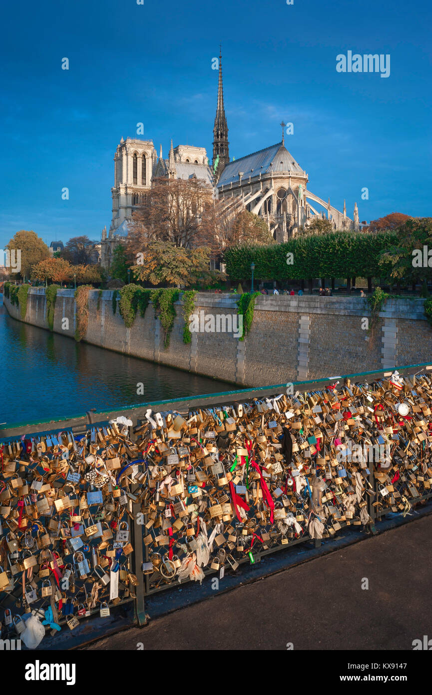 Paris Seine River, view from the Pont de l'Archeveche of Notre Dame Cathedral at sunrise, central Paris, France. - Stock Image