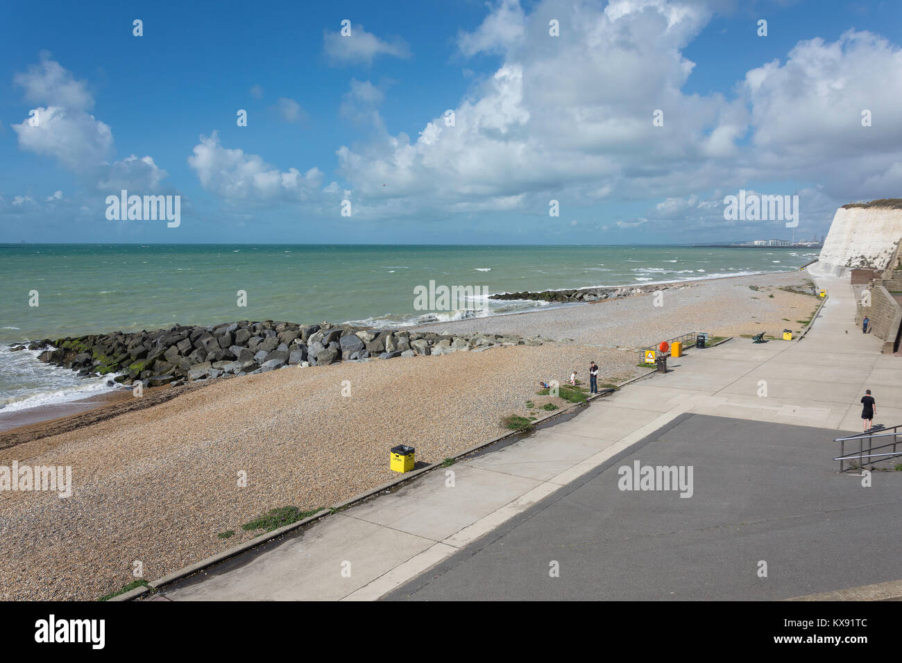 Beach and Under Cliff Walk, Rottingdean, East Sussex, England, United Kingdom - Stock Image