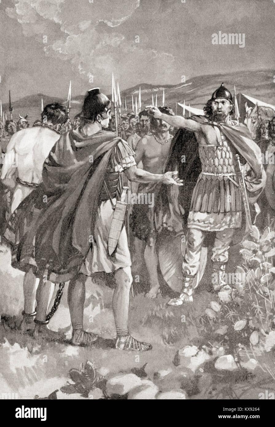 The surrender of Mancinus during the Numantine War, 137 BC.  Gaius Hostilius Mancinus,  Roman consul.  From Hutchinson's - Stock Image