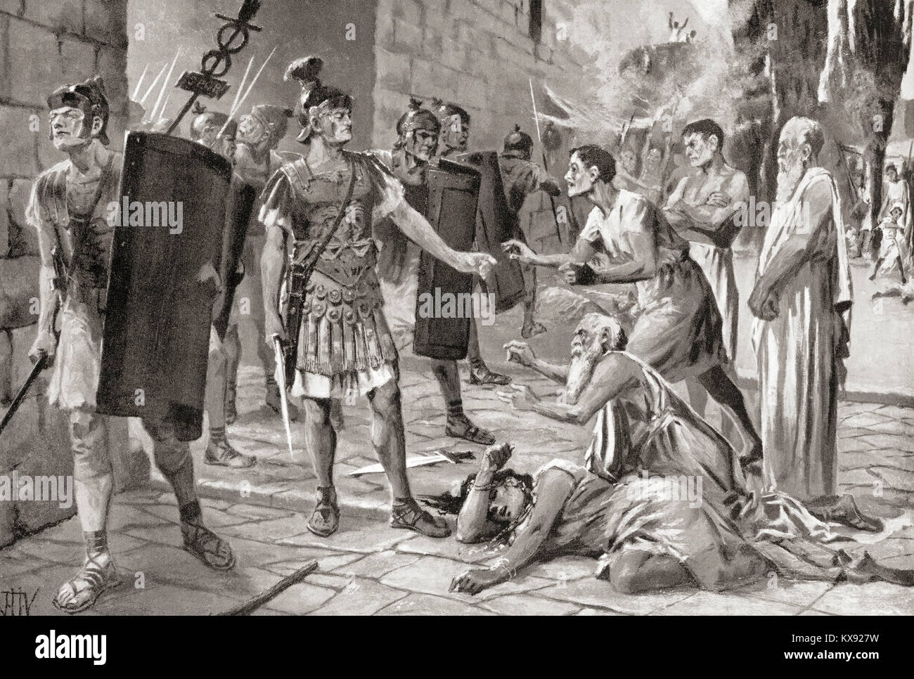 The surrender of the ancient town of Fregellae to Lucius Opimius after the revolt of 125 BC.  After the painting Stock Photo
