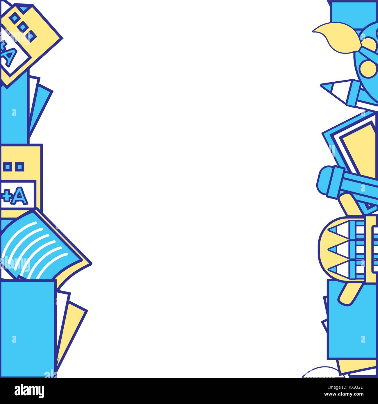line color school tools education background design Stock ...