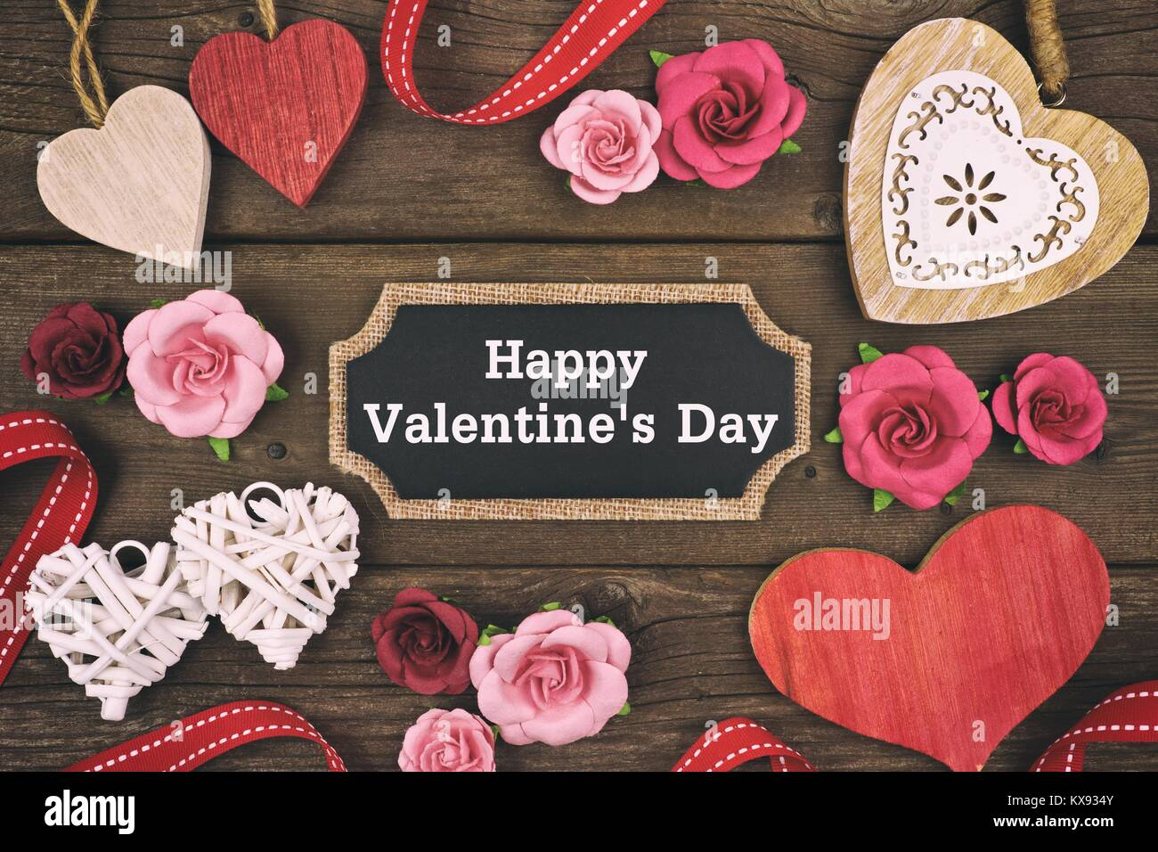 Happy Valentines Day Message On A Chalkboard Tag With Frame Of