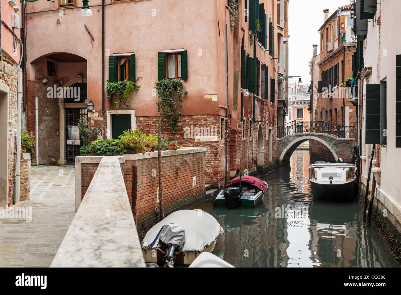 A small canal in Venice, Italy, Europe. - Stock Image