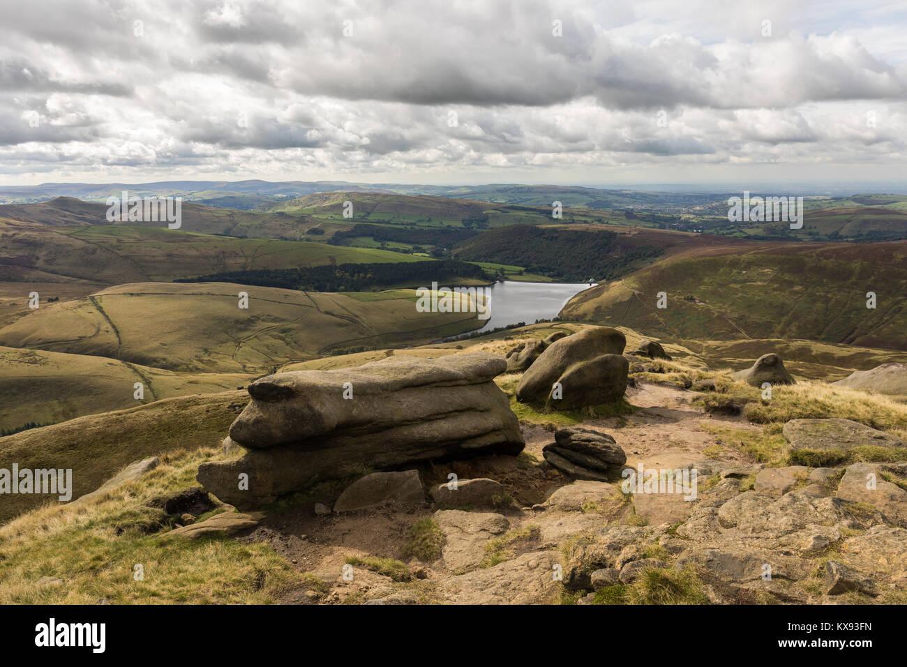 View of Kinder Reservoir from Kinder Scout, Peak District National Park, Derbyshire, UK - Stock Image