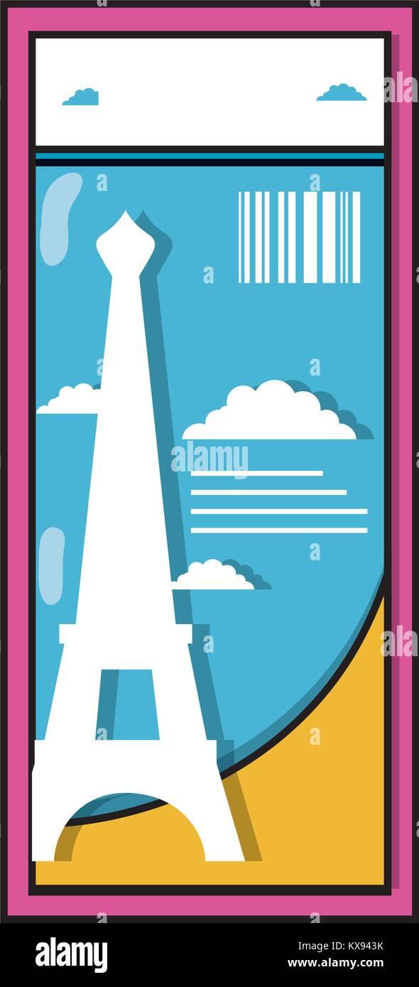 eiffel tower of paris ticket vacation - Stock Vector