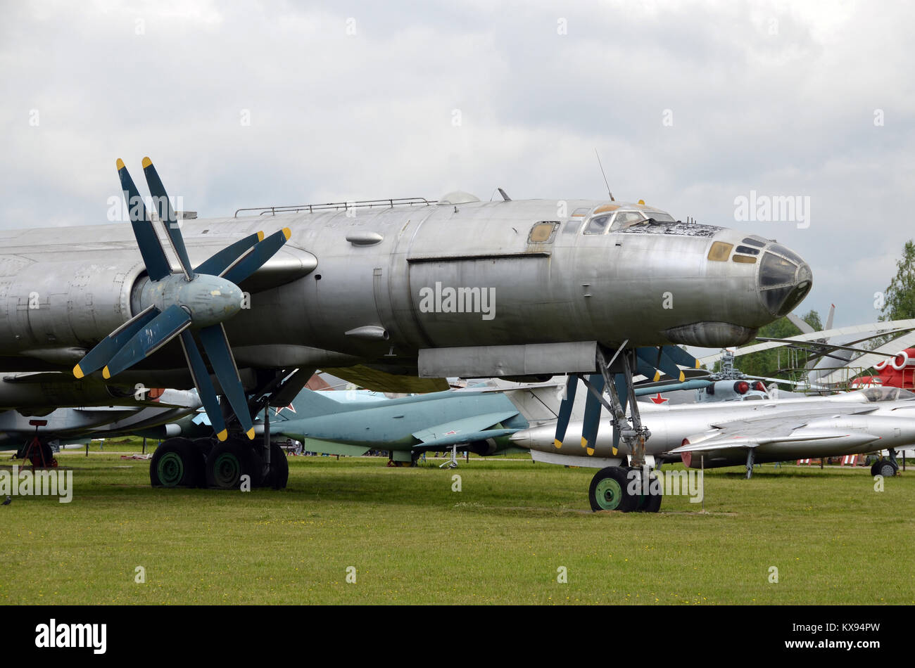 A Tupolev Tu 95 Bear Long Range Bomber On Display In The Museum Of