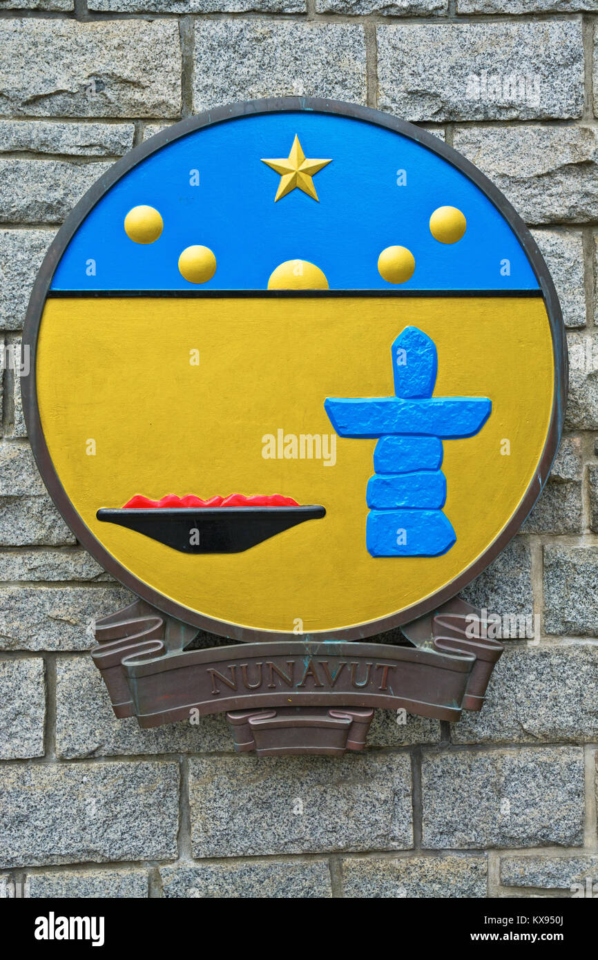 The shield portion of the Nunavut Coat of Arms. - Stock Image