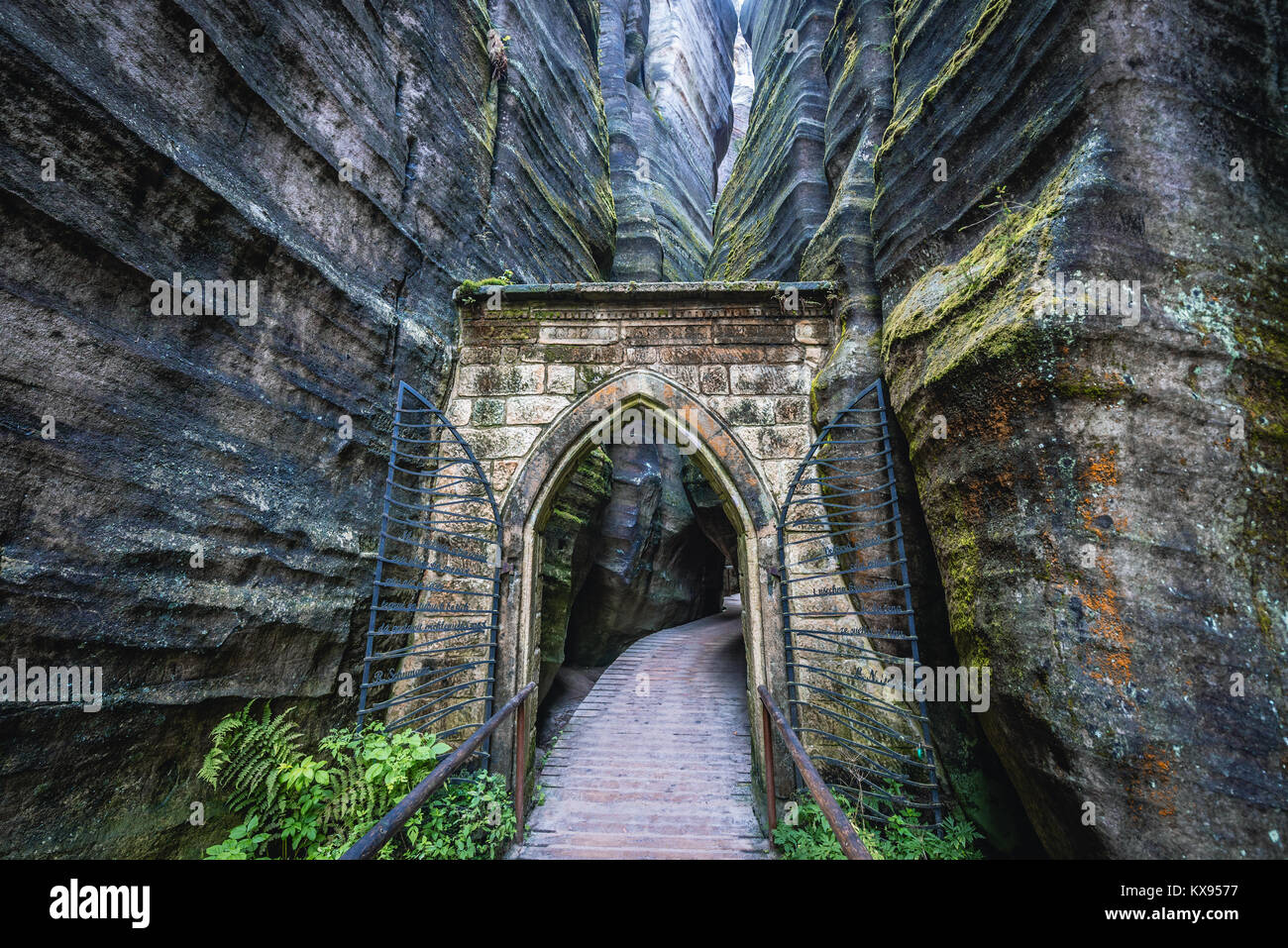 Gothic gate in National Nature Reserve Adrspach-Teplice Rocks near Adrspach village in northeastern Bohemia region, - Stock Image