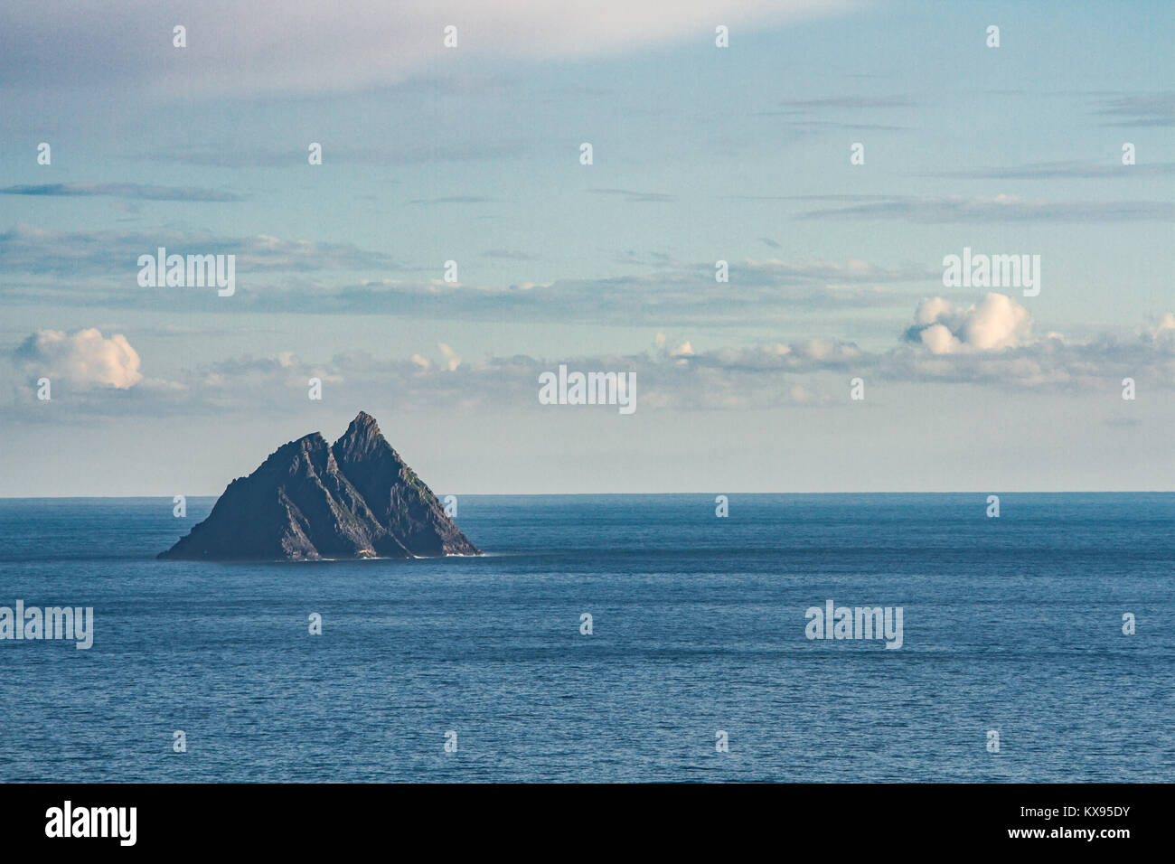 Skellig Michael, island nearby coast of Iveragh peninsula, County Kerry, Ireland, with medieval, early Christian - Stock Image
