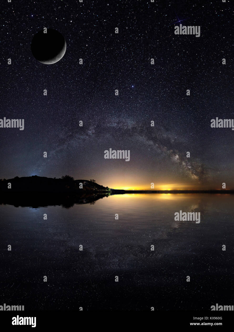 Amazing Panoramic Landscape view of a Milky Way. Milky Way over the lake. - Stock Image