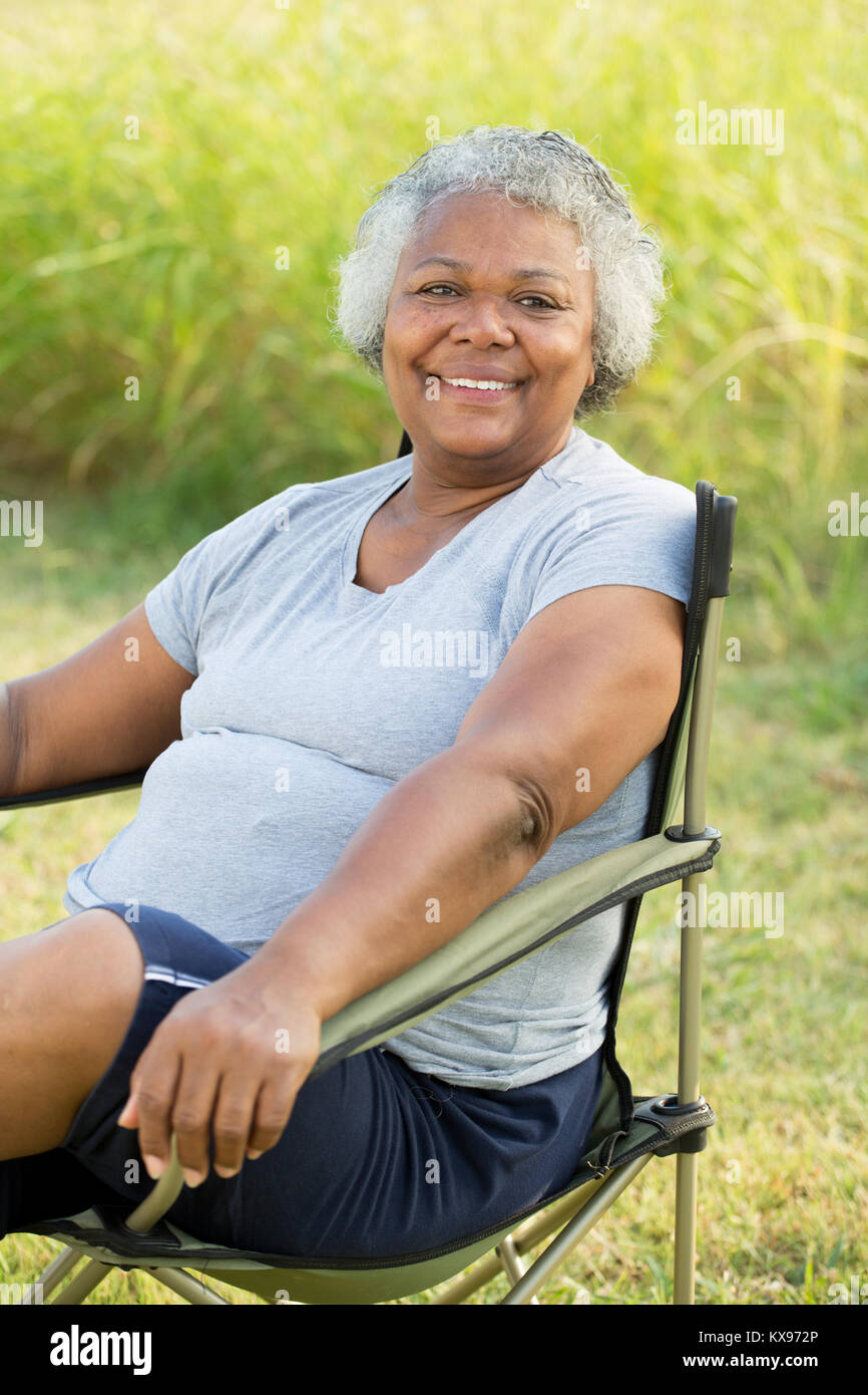 Mature African American woman. - Stock Image