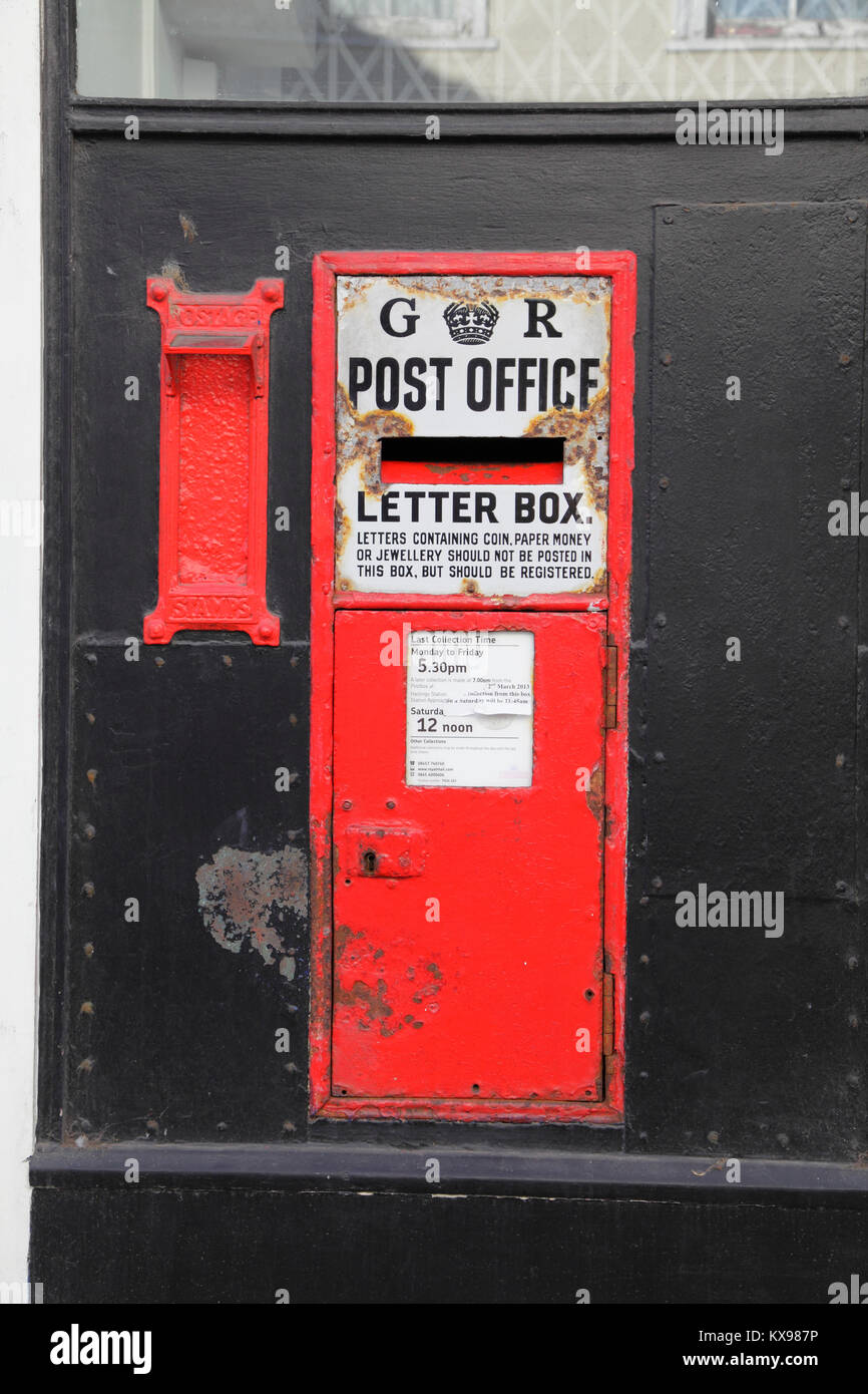 Old Gr Red Letter Box And Stamp Vending Machine In The Wall