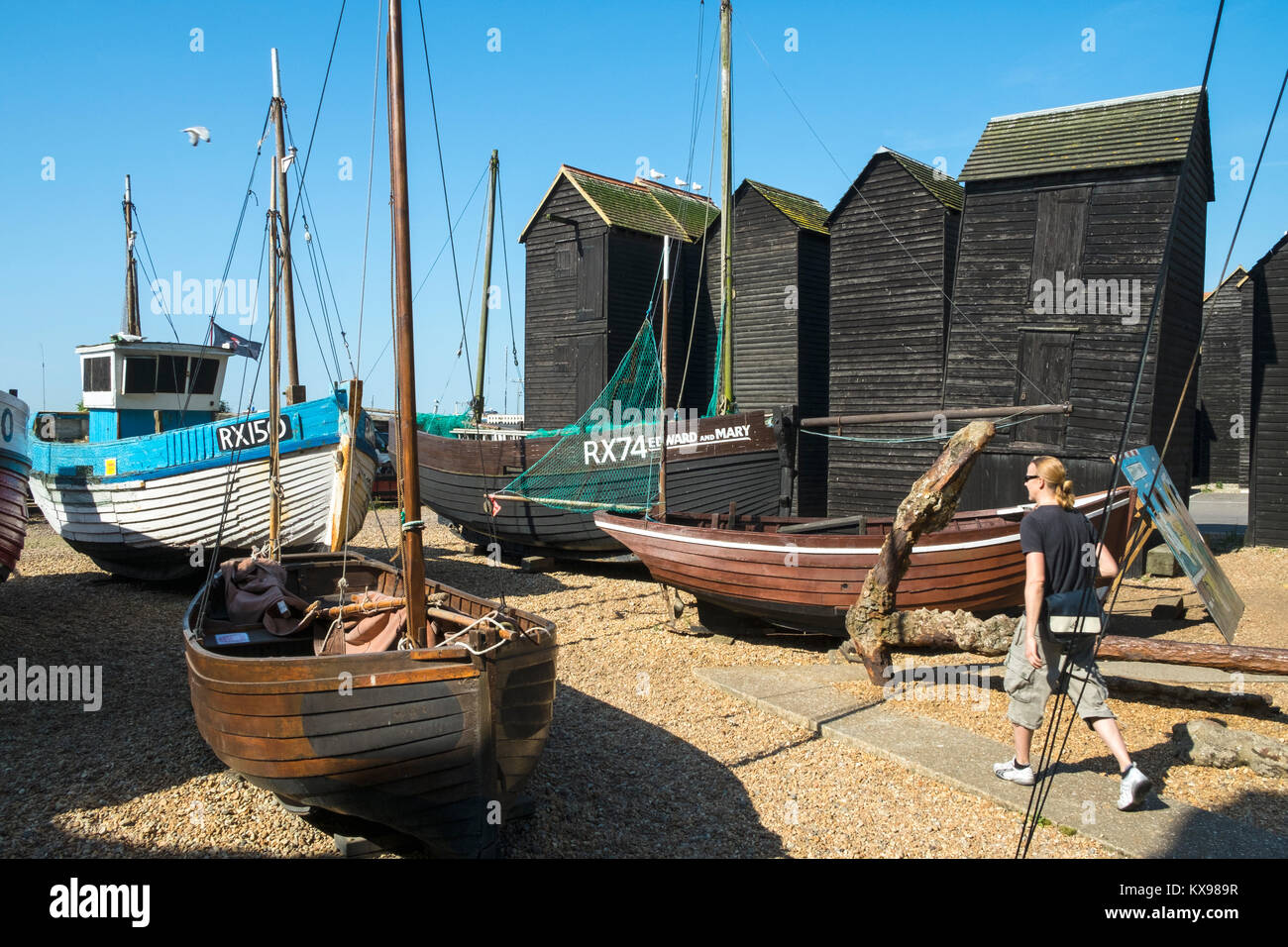 Hastings Historic Boats Open Air  Museum, Maritime Heritage Quarter, by the Net Huts, Rock-a-Nore, East Sussex, - Stock Image