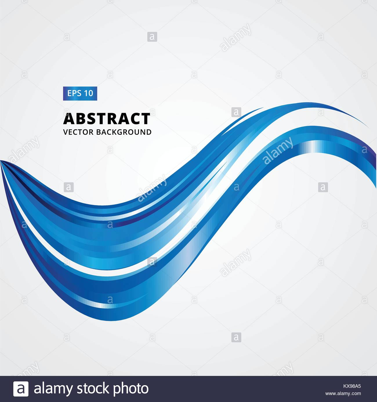 Abstract Curved Lines Blue Waves Vector Illustration