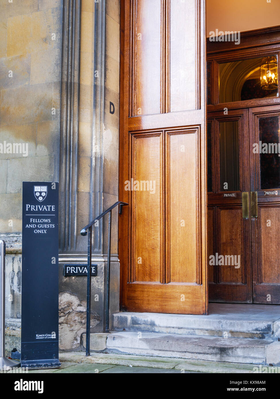 Nortice to visitors that this entrance at King's college, Cambridge university, England, is only for Fellows - Stock Image