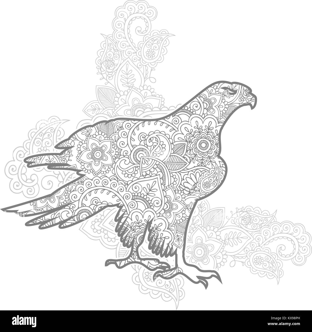 Hand Drawn Eagle Doodle Animal Paisley Adult Stress Release Coloring Page Zentangle Vector