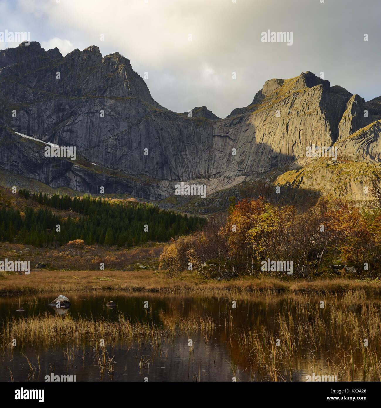 Stjerntinden, Flakstadoya, Lofoten islands, Nordland, Norway - Stock Image