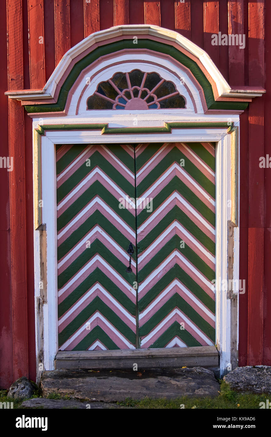 Patterned door at the Petter Dass Museum, Alstahaug, Nordland, Norway - Stock Image