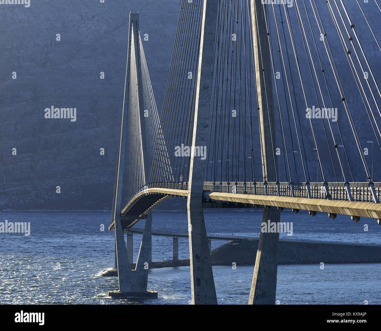 Helgeland bridge, Helgelandsbrua, over the Leirfjorden, near Sandnessjoen, Alstahaug, Nordland, Norway Stock Photo