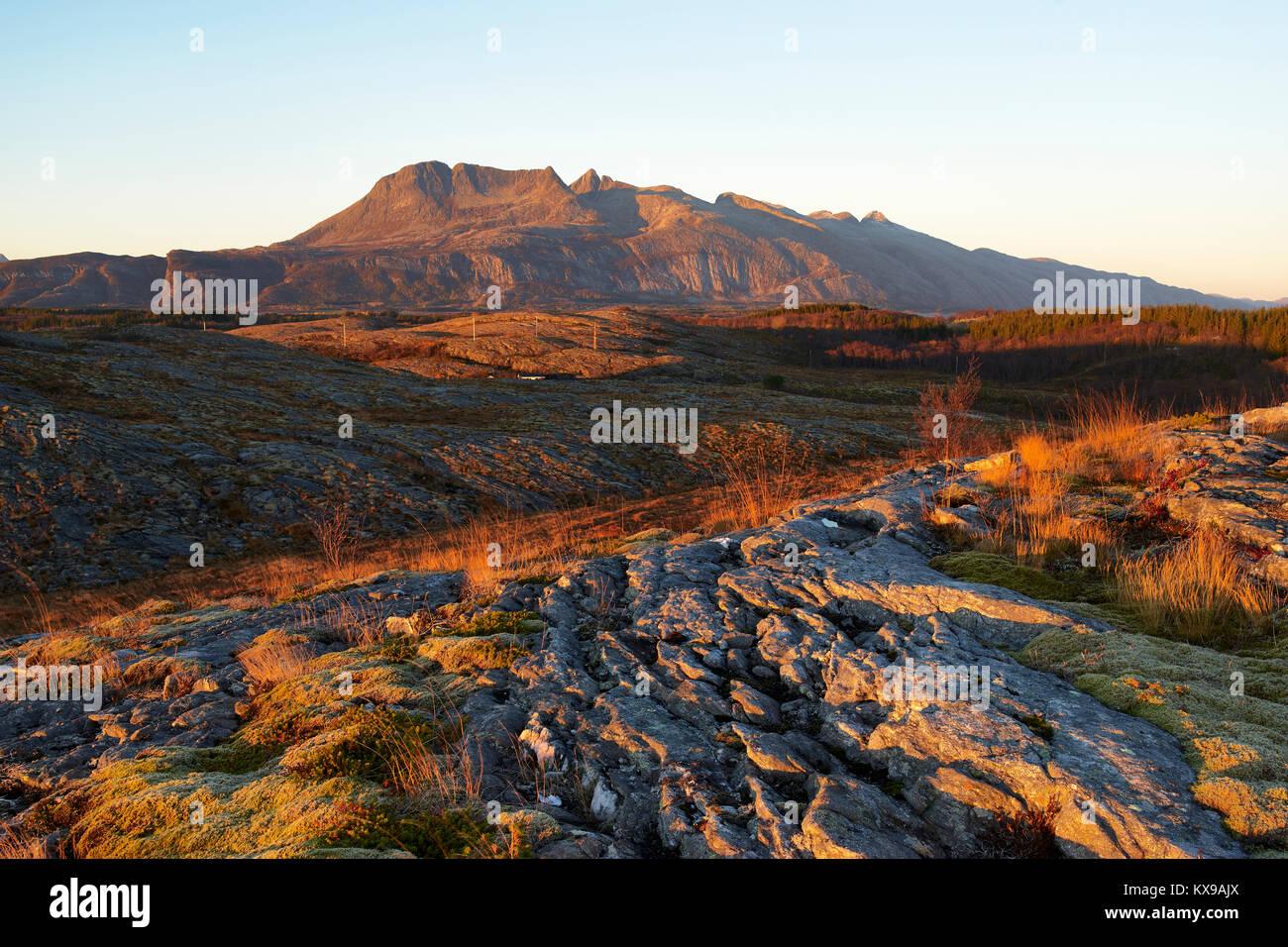 De syv søstre, Seven Sisters Mountain range, Alstahaug, Nordland, Norway - Stock Image