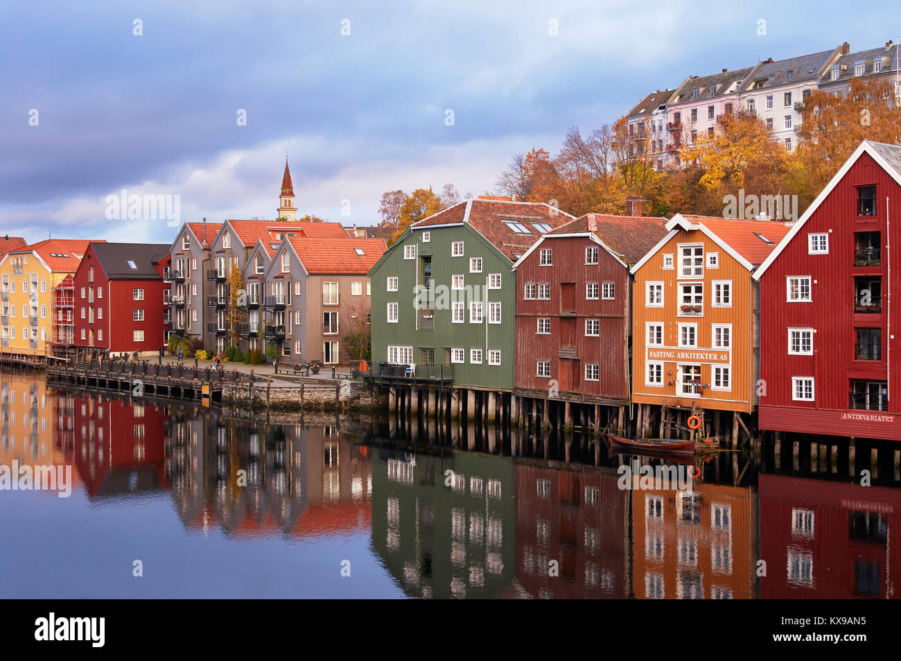 Restored and converted storehouses along the River Nidelva, Trondheim, Sor-Trondelag, Norway - Stock Image