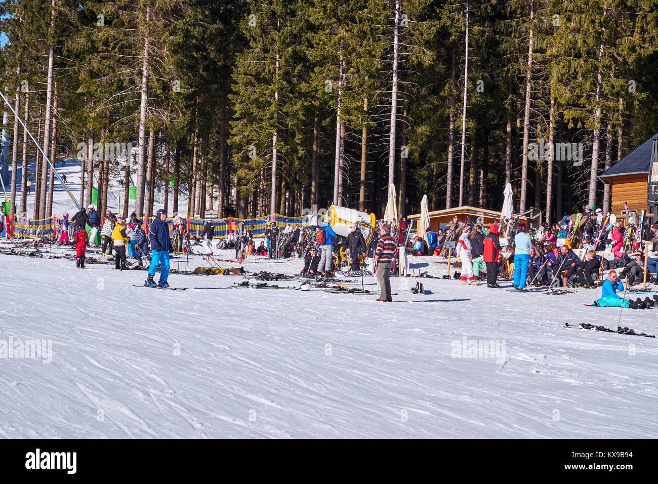 WINTERBERG, GERMANY - FEBRUARY 15, 2017: Large group of people taking a break at Ski Carousel Winterberg - Stock Image