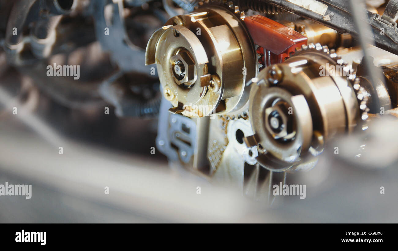 The internal combustion engine, repair at car service, details under the hood of the car Stock Photo