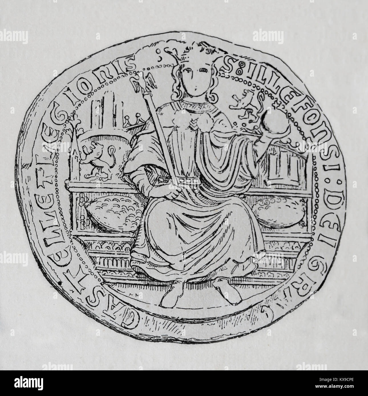 Alfonso XI of Castile (1311-1350) 'The Avenger'. King of Castile, Leon and Galicia. Stamp. Engraving, 1879 - Stock Image