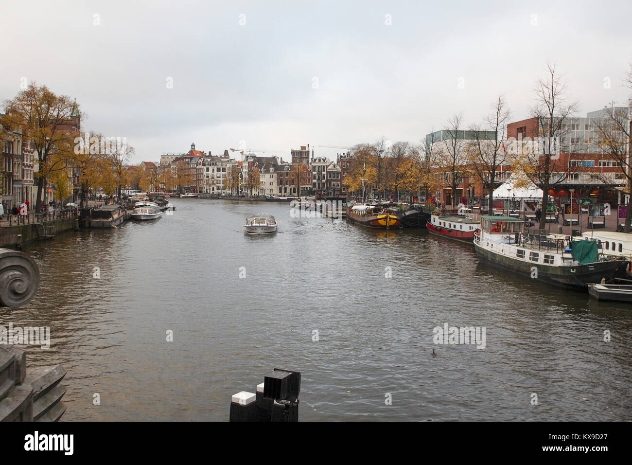 One of the canals with houseboats at the quays 2007 - Stock Image